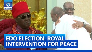 FULL VIDEO: Oba Of Benin Meets With Obaseki, Ize-Iyamu And Party Leaders